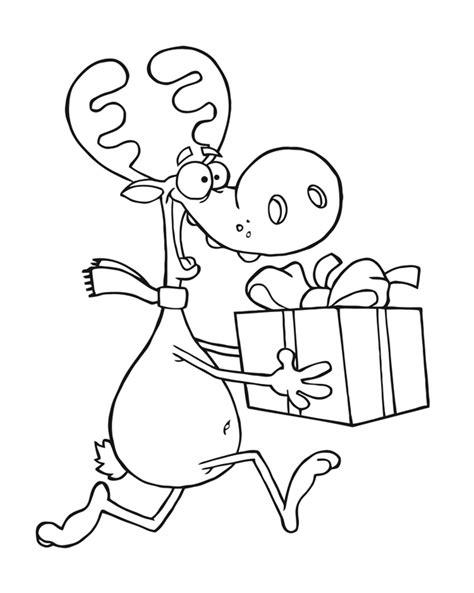 Kostenlose Vorlage Rentier Kostenlose Malvorlage Weihnachten Rentier Mit Geschenk Zum Ausmalen