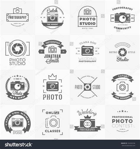 Vector Set Of Photography Logo Design Templates Photography Retro Vintage Badges And Labels Photography Label Templates