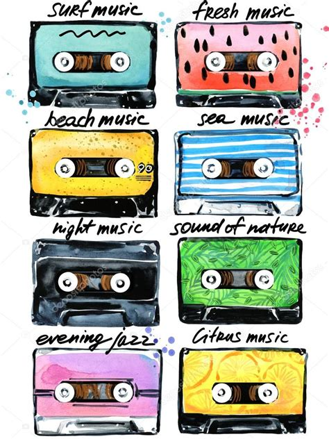 cassette musica retro cassettes audio cassettes illustration summer time