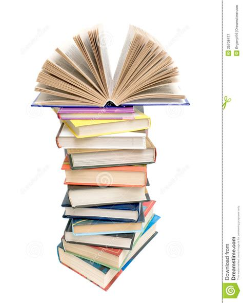 Beautiful Floor Plan by Open Book On A Pile Of Books On A White Background Royalty