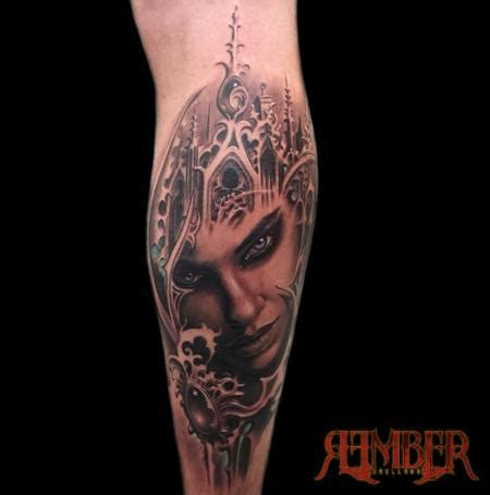 gothic city tattoo portrait by rember tattoos