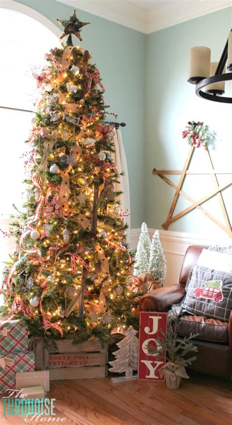 burlap on a tree a country plaid and burlap tree the turquoise home