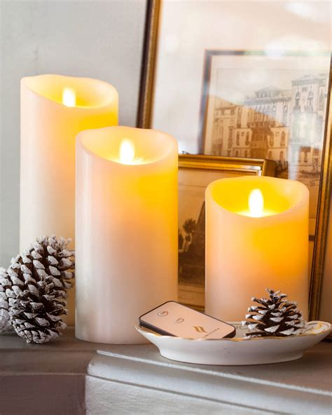 flameless pillar candles glancing framed mirror in small miracle battery operated pillar candle balsam hill