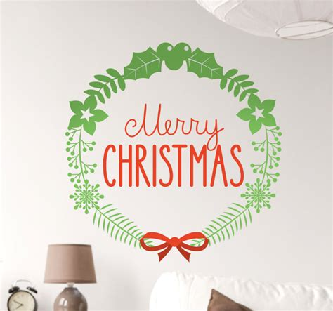 Merry Christmas Wall Stickers merry christmas holly wall sticker tenstickers