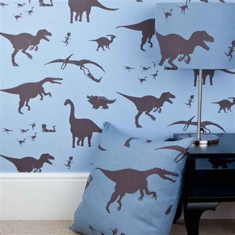 dinosaur wallpaper for bedroom designer kids wallpaper d ya think e saurus in blue bedroom decor