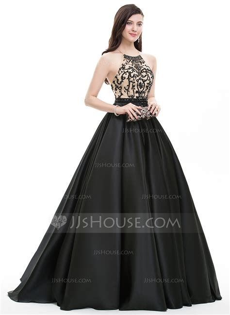 bal gowns ball gown scoop neck sweep train satin prom dresses with