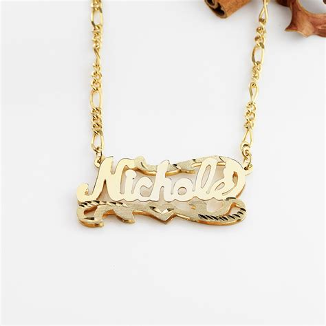 plate cut name necklace quot quot
