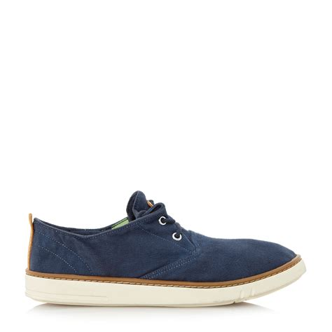 timberland unlined canvas lace up casual brogues in blue