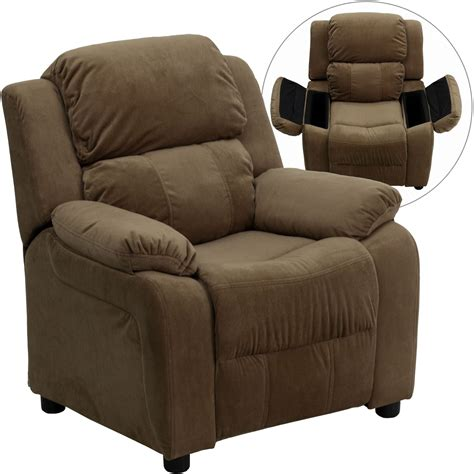 kids brown recliner deluxe heavily padded brown kids storage arm recliner from