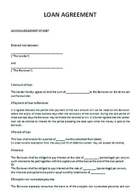 Sle Letter For Loan Contract loan contract template with crucial details to note