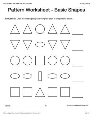 basic pattern worksheet pattern worksheets for kids black white basic shapes