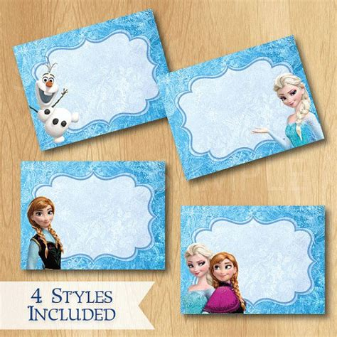 Frozen Tent Cards Templates by Disney Frozen Food Labels Instant Disney Frozen
