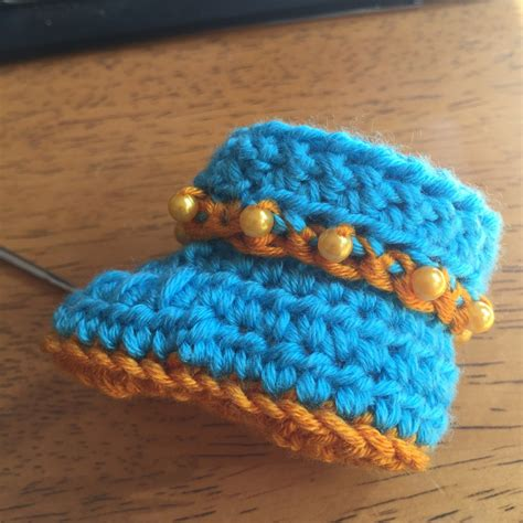 Handmade Baby Booties - handmade baby boots blue yellow premmie clearlyhelena