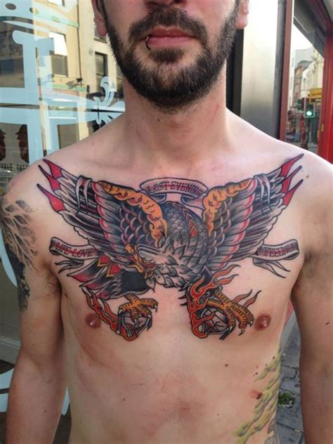 tattoo chest traditional eagle chest tattoo by hugh sheldon neo traditional