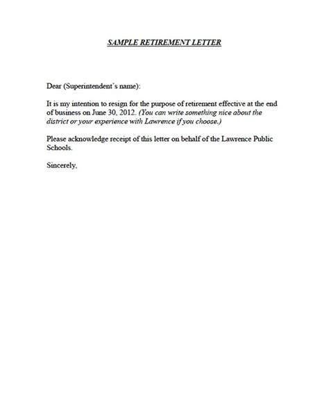 sle retirement resignation letter 6 free sle retirement
