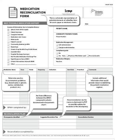 medication reconciliation form 8 sle medication reconciliation forms sle templates