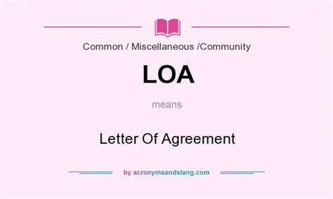 Letter Of Agreement Definition loa letter of agreement in by acronymsandslang