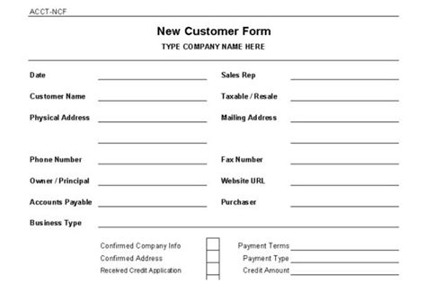 new customer form template accounts receivable controls vitalics