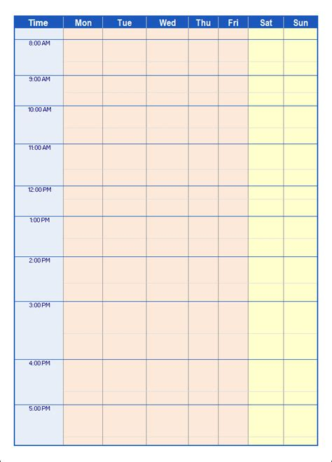 7 day schedule template search results for blank weekly schedule calendar 2015