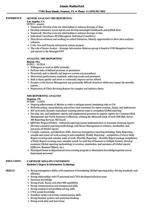 mis executive resume sle pdf sle resume mis reporting manager india for executive in