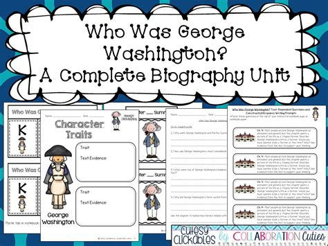 george washington biography with questions collaboration cuties george washington biography unit