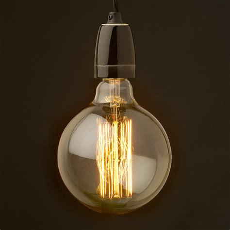 Porcelain Pendant Light Edison Style Light Bulb And E27 Black Porcelain Pendant