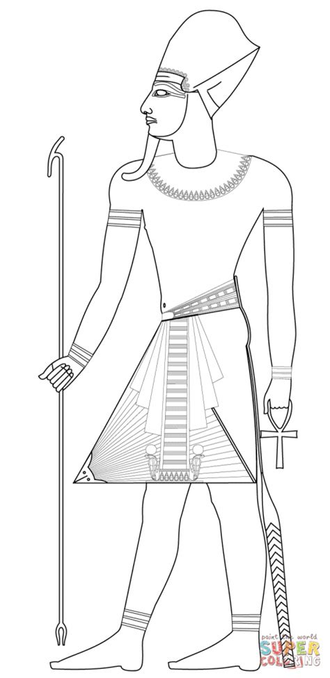 printable egyptian crown pharaoh with blue crown ancient egypt coloring pages