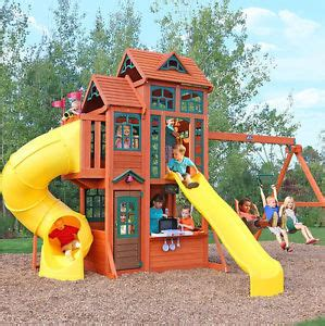 outdoor playhouse with slide and swing childrens outdoor playhouse garden kids slide wooden swing