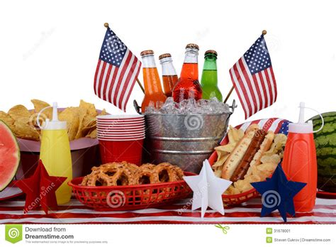 hot chips items picnic table fourth of july theme stock image image