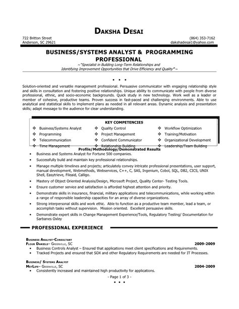 sle summary for resume sle resume summary for business analyst sle resume