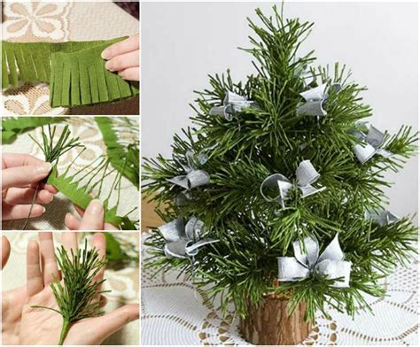 how to diy mini crepe paper christmas tree