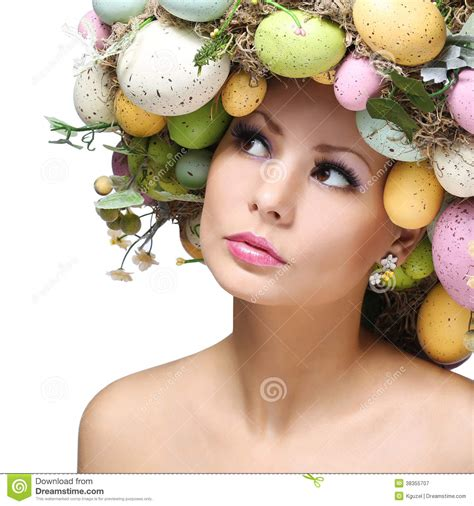 easter time avarde look hairstles easter woman spring girl with fashion hairstyle royalty