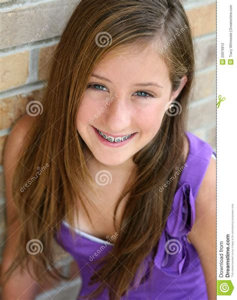 girl face pre happy preteen girl with braces stock photo image of