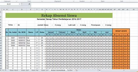 format rekap absensi siswa contoh format daftar hadir absensi siswa di microsoft
