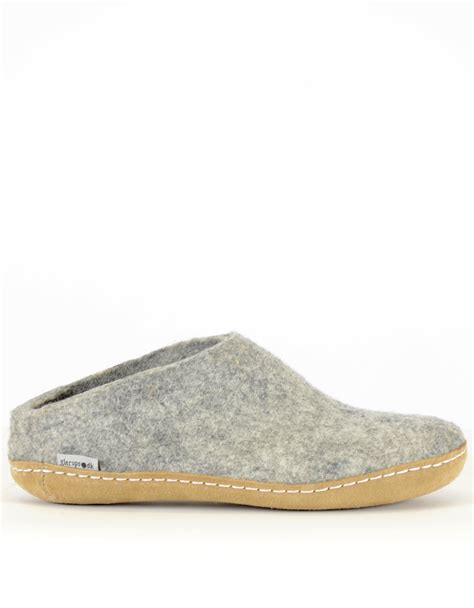 mens slippers leather sole glerups s wool slipper leather sole grey from still