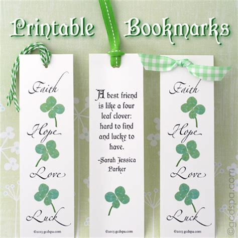 St S Day Bookmarks Printable st s day printables bookmark gift