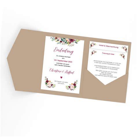 Hochzeitseinladung Pocketfold by Rosengarten Einladung Pocketfold