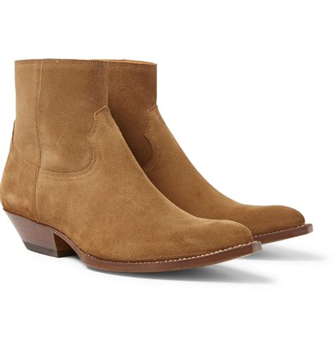 mens suede western boots laurent suede cowboy boots in brown for lyst