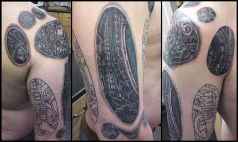 tattoo cover up for work biomechanical arm tattoo cover up work in progress by