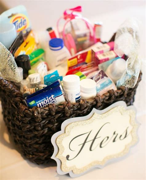 wedding guest bathroom basket per wedding guests with a diy bathroom essentials