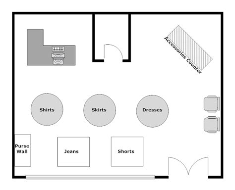 floor plan of a store clothing store layout