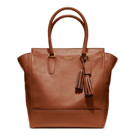 Coach Legacy Leather coach legacy leather tote in brown brass cognac lyst