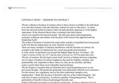 Contract Essays by Contract Essay Freedom To Contract Marked By Teachers