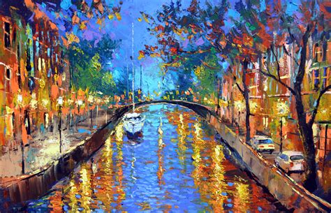 popular artwork evening landscape palette knife painting on canvas by dmitry spiros 28 x 40 in