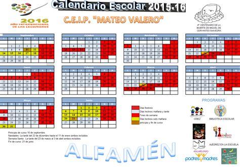 Calendario Escolar Aragon Curso 2015 16 Ceip Mateo Valero Colegio Mateo Valero Alfam 233 N
