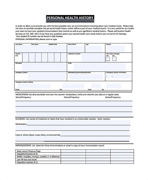 document history template sle health history template 9 free documents