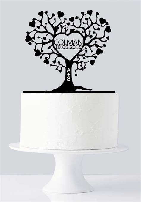 Unique Wedding Cake Topper   Gold Love Tree Cake Topper