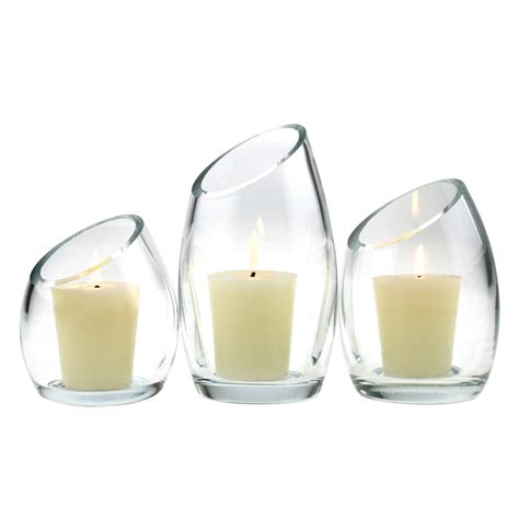 Glass Candle Holder Set by Set Of 3 Slant Glass Candle Holders