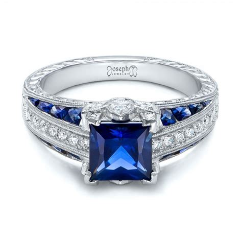custom blue sapphire and engagement ring 102163