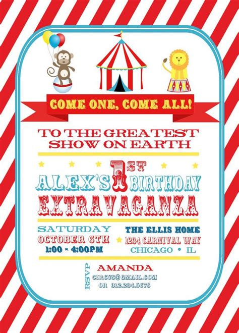 circus themed invitation templates 17 best circus theme images on circus theme